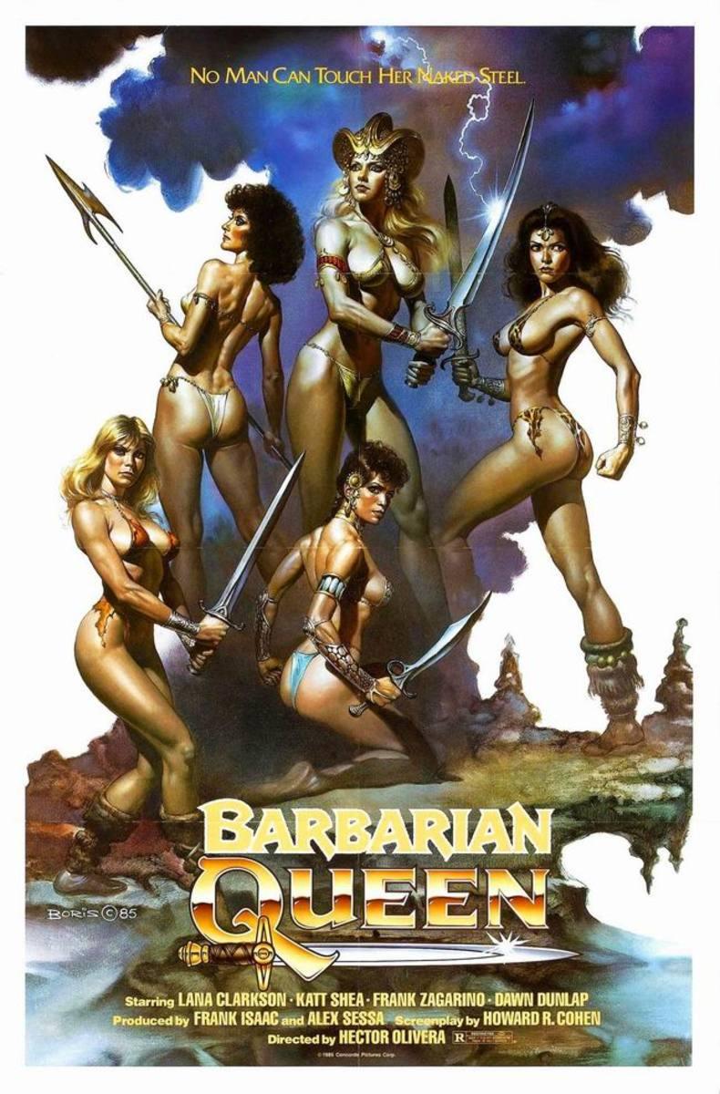 Barbarian Queen (1985) poster art by Boris Vallejo