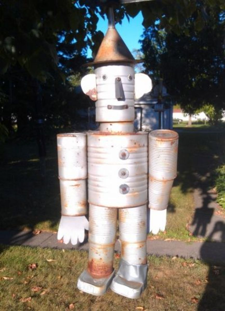 How to make a recycled tin man for Tin man out of cans