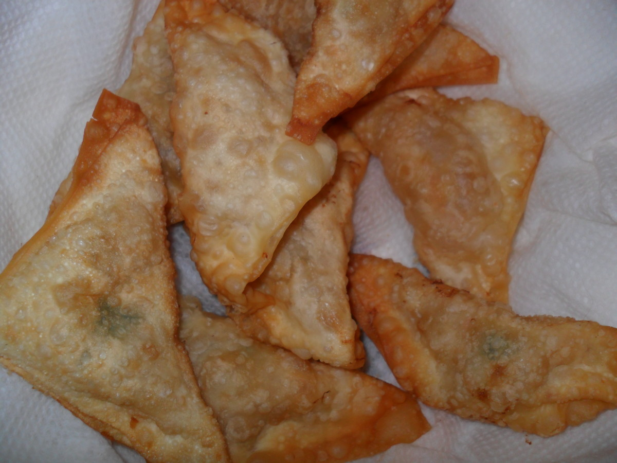 Baked or fried apple pie wontons