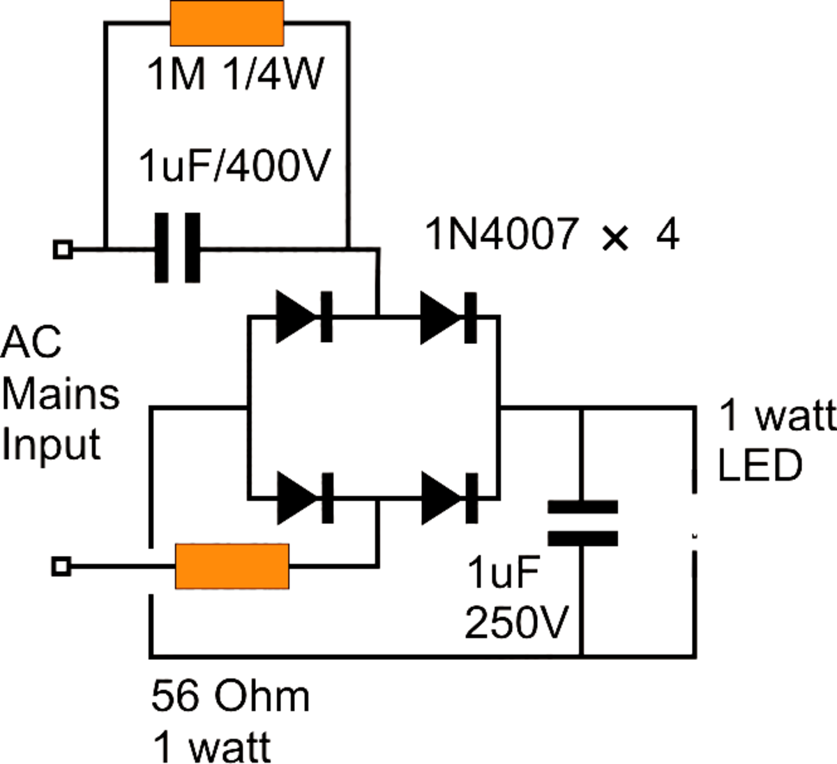 making a 1 watt led driver circuit at 220v