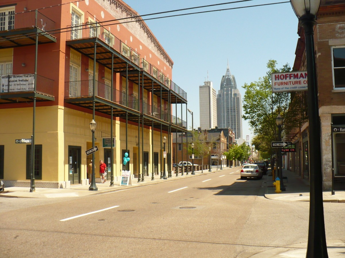 The western edge of Dauphin Street features great restaurants like Wintzells, The Bull, and the OK Bicycle Shop.