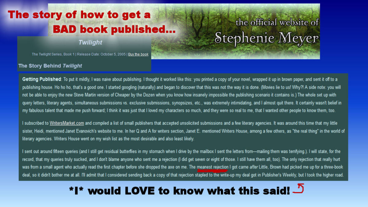 Photo captured from Stephenie Meyer's website for educational purposes only.