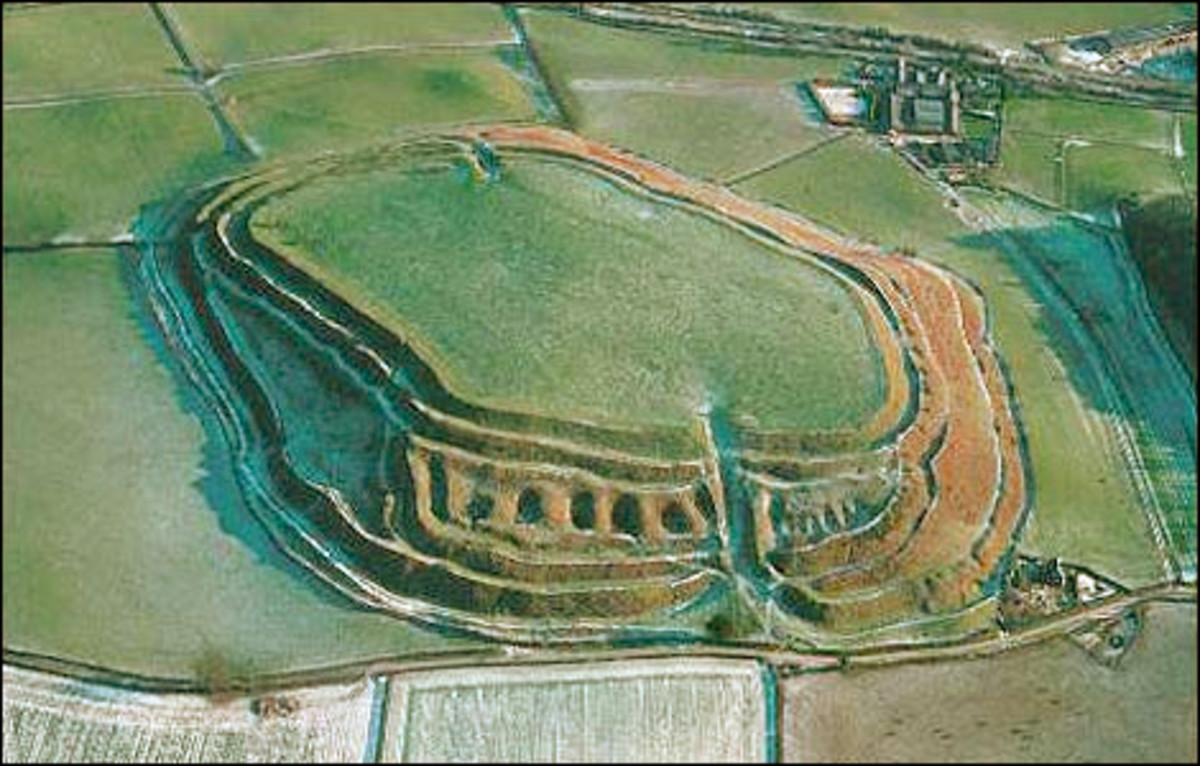 Old Oswestry Iron Age hill fort in Shropshire (Salop), shows its 'stepped' defences with an odd 'dimpled' effect (like a pie crust)