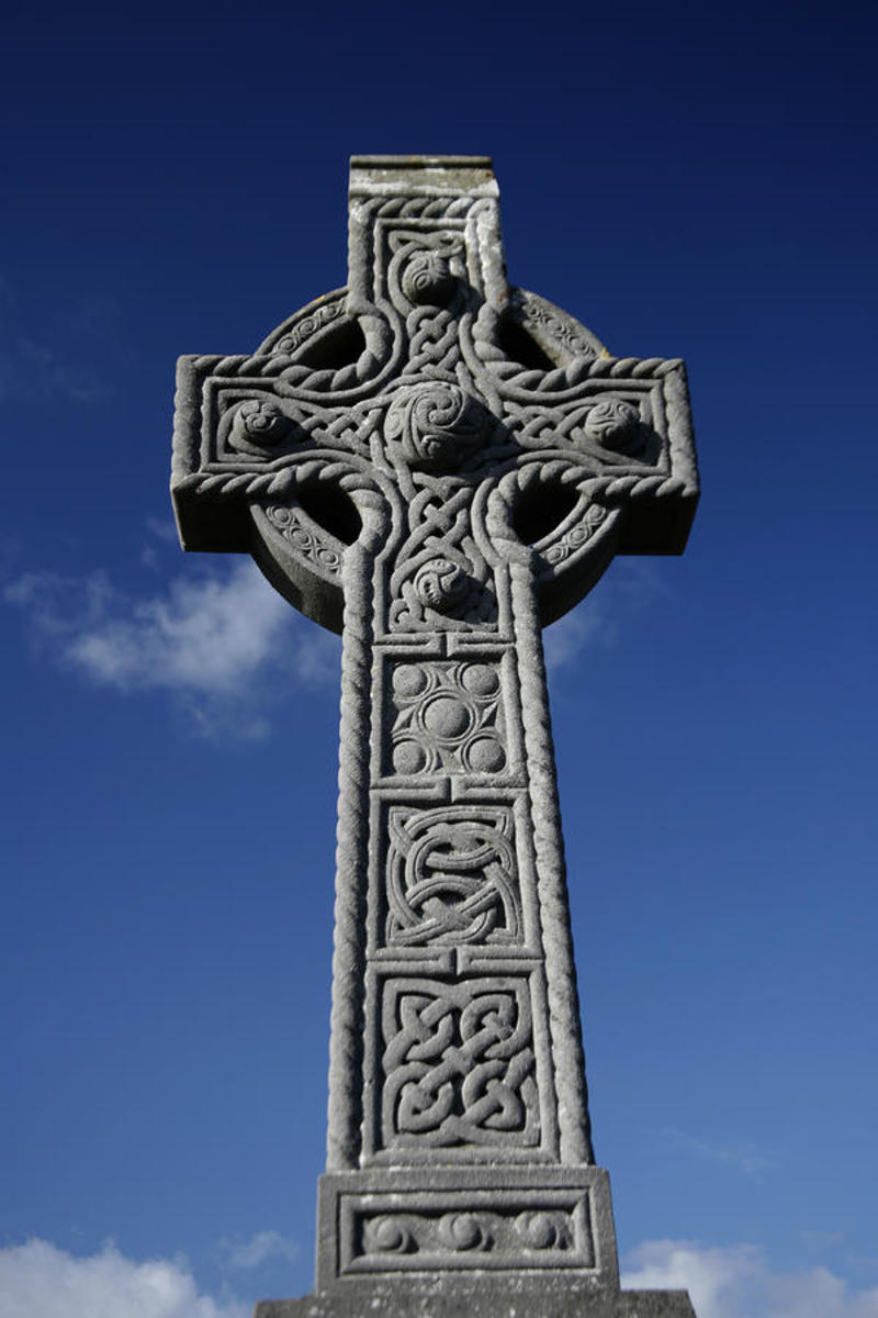 Ornate Celtic cross showing motifs such as knot pattern-work and bosses. There are many of these spread not only around traditional Celtic territories but also in Northern England - Cumbria, Northumbria and some rural Yorkshire/Lancashire sites