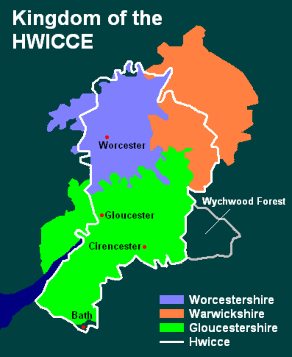 The old kingdom of Hwicce outlined in white around the counties of Gloucestershire, Worcestershire and south-western Warwickshire