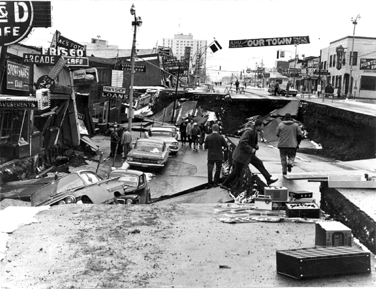 A view of Fourth Avenue in Anchorage. Alaska following the Good Friday Earthquake of 1964.