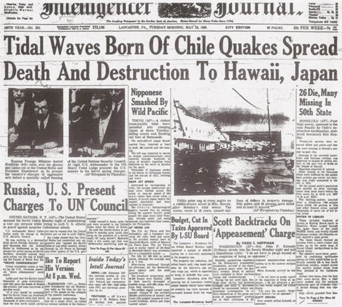 The 1960 Chile earthquake was front page news for many days (link to source was not working as of 20150915).