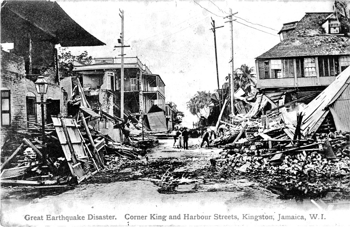 Postcard depicting the damage to Kingston, Jamaica that resulted from the 14 January 1907 earthquake.