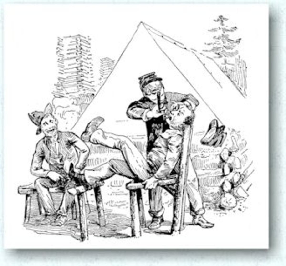 A sketch of a camp barber and his customer (victim?)