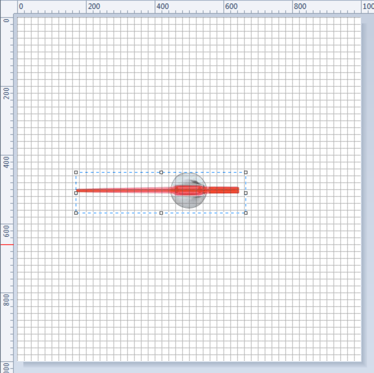 Move the fulcrum of the needle to the centre of the picture created using MS Paint, utilising the ruler and grid lines as a guide.