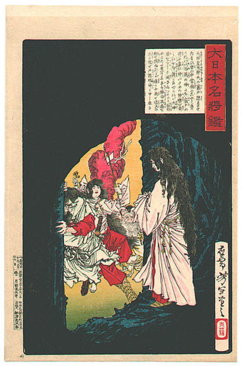 Amaterasu Appearing from the Cave by Tsukioka Yoshitoshi, 1882