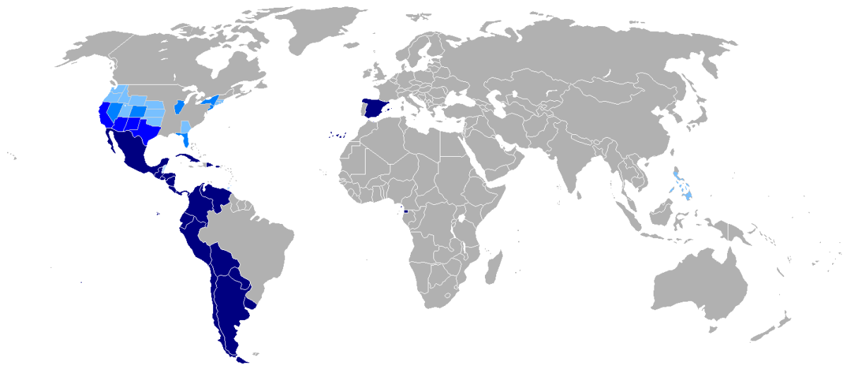 A map of Hispanophone (Spanish-speaking) countries and areas, where Spanish is the mother tongue. Darker blue indicates a higher number of Spanish speakers.