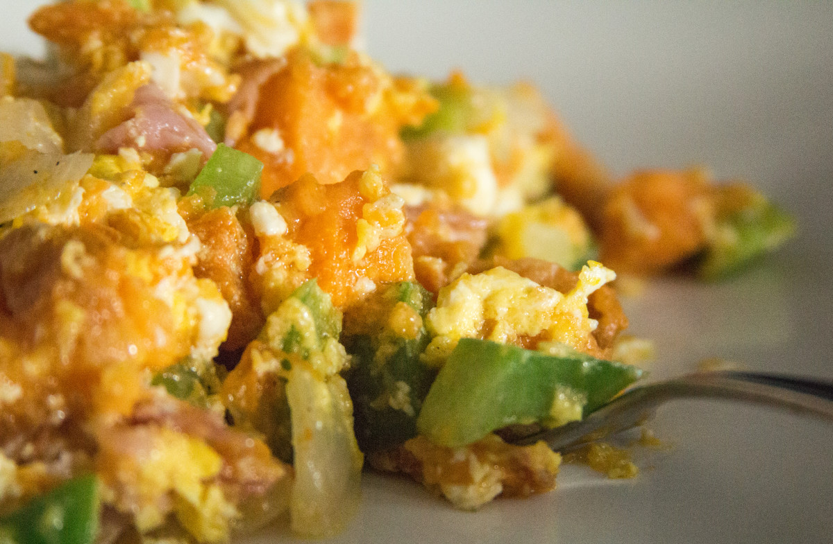 Sweet potato scramble, ready to eat. Enjoy!