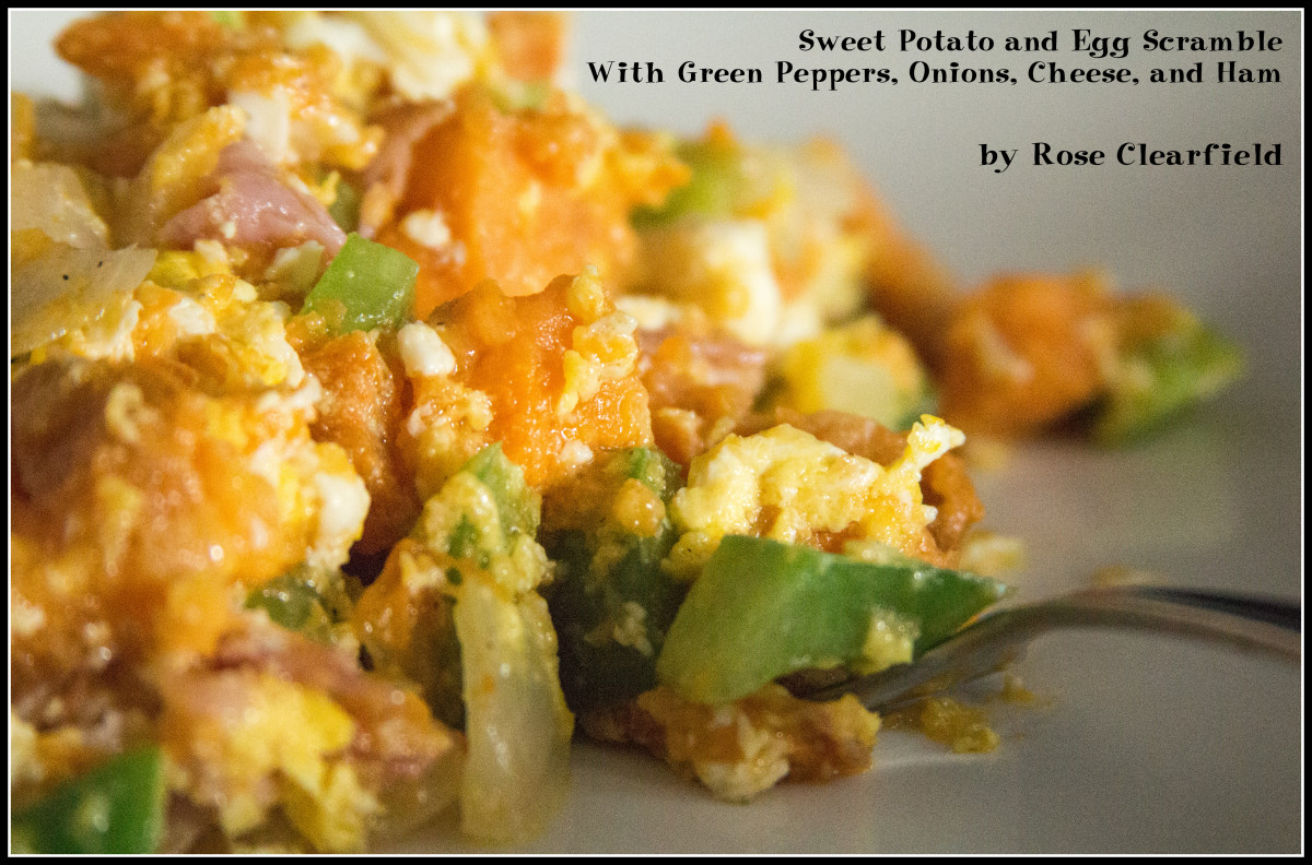 Savory Sweet Potato and Egg Scramble With Green Peppers, Onions, Cheese, and Ham