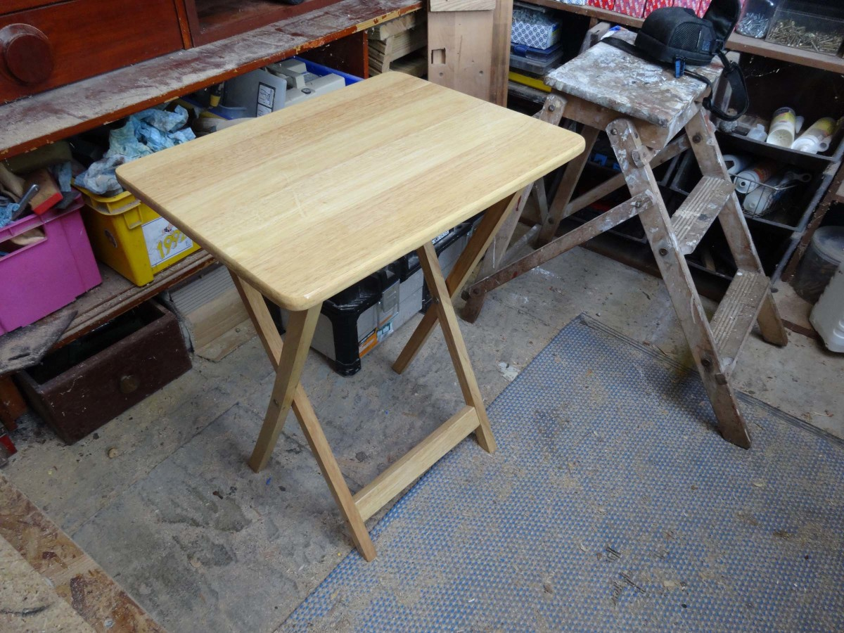 Folding table made stable, and finished off with a lick of yacht varnish