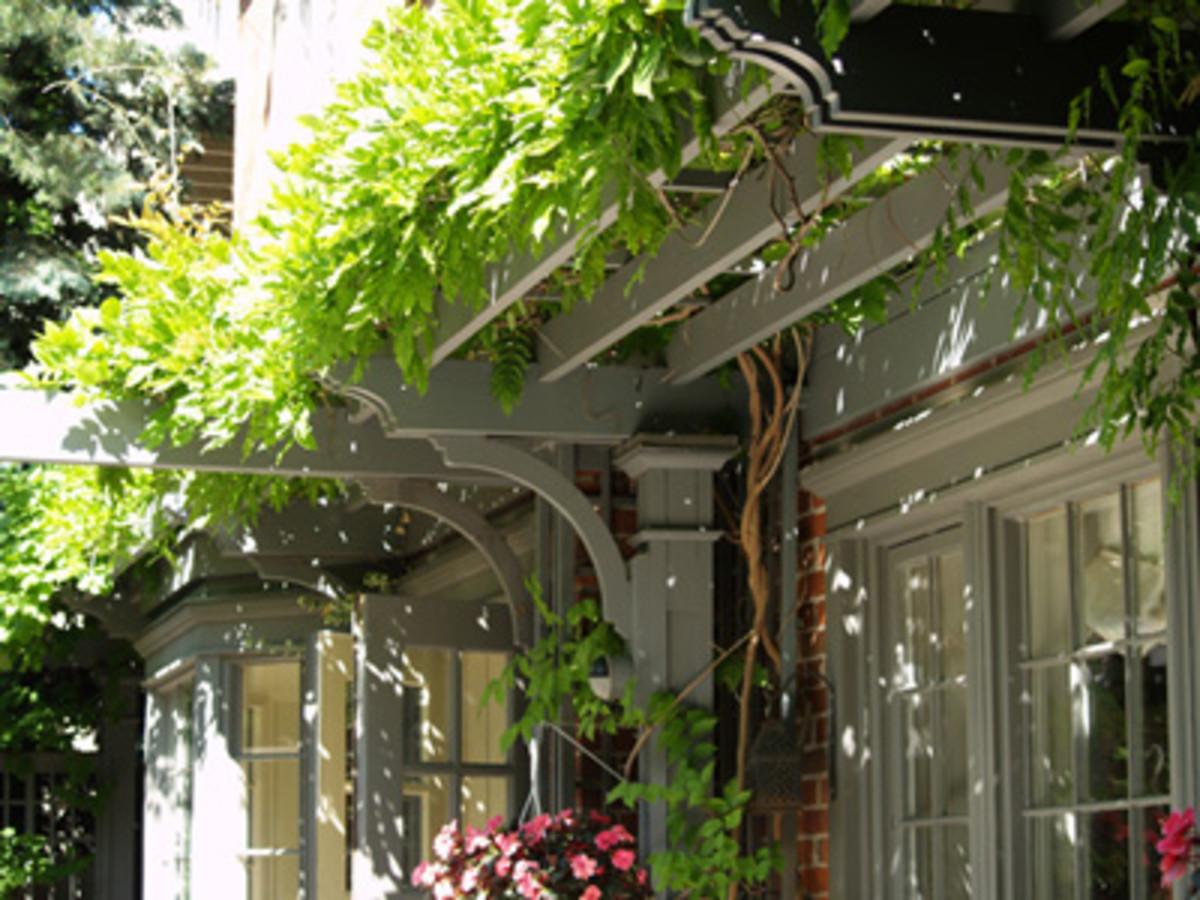 green pergola above garage doors