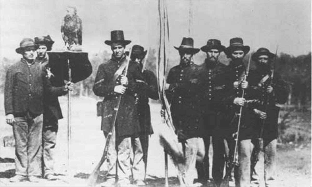 "The Color Guard of the 8th WI Volunteers, along with their mascot, an eagle called ""Old Abe"""