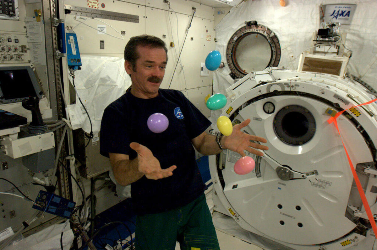 Commander Chris Hadfield juggles Easter Eggs aboard the International Space Station. Because, well, what's cooler than space!?