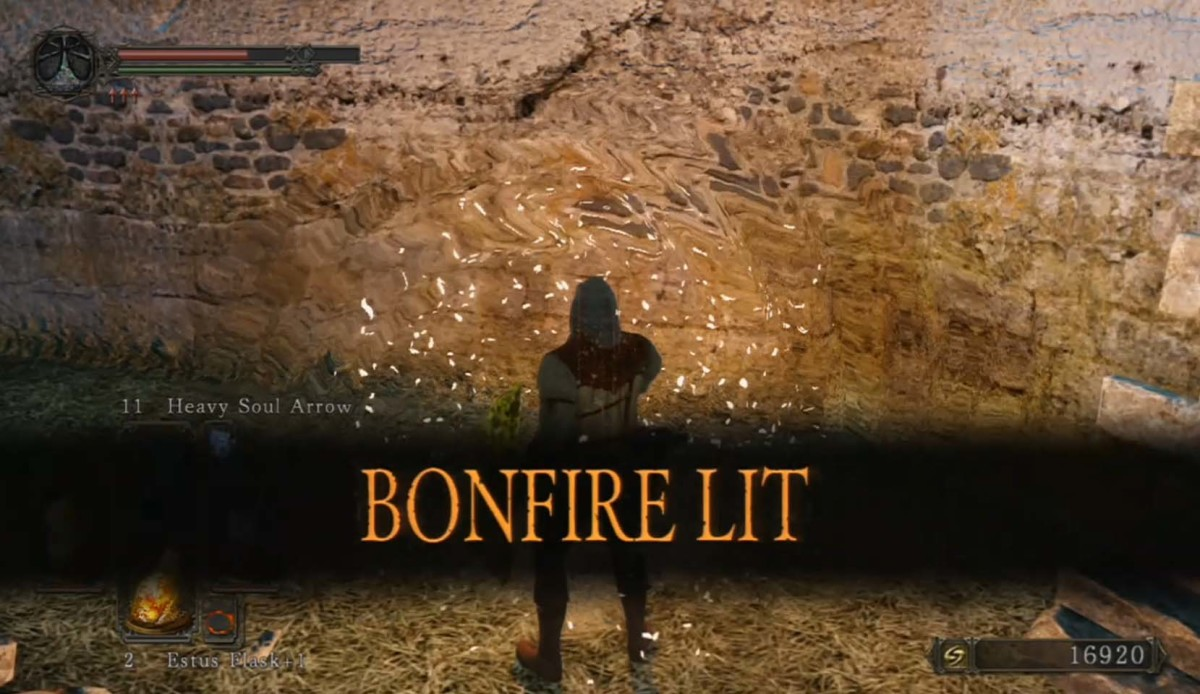The welcome sight of a bonfire, especially when the hero is overburdened with souls.