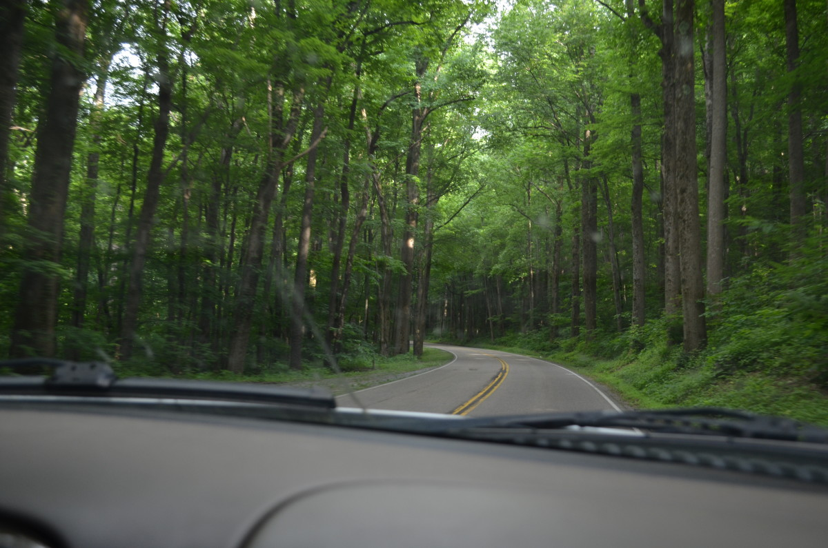 The road up to the top of the Smokey Mountains