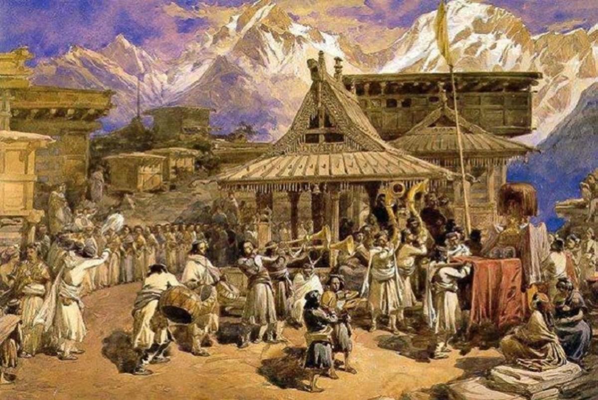 An 18th century painting of Kalpa Village