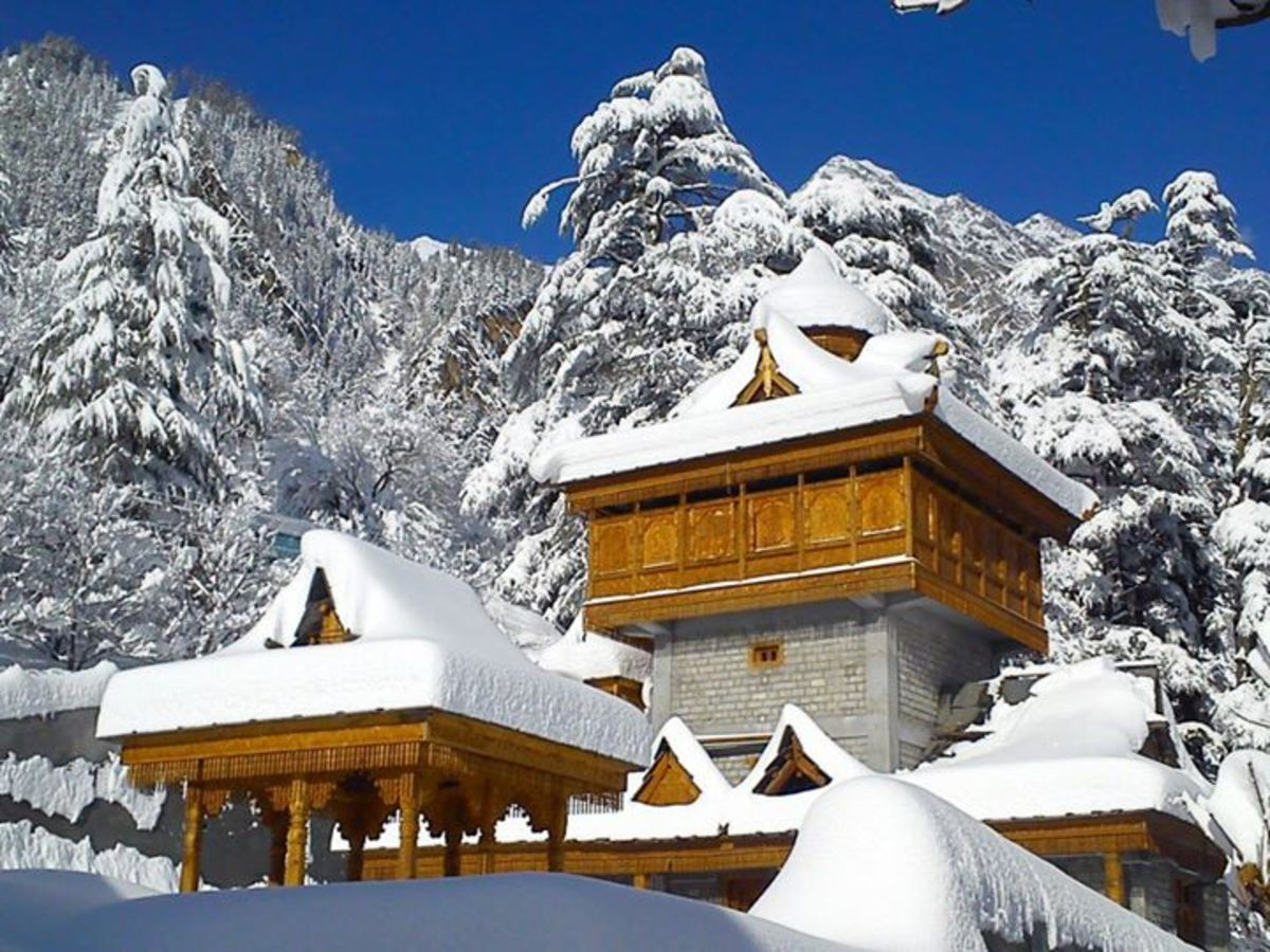 The Temple at Kafnu in Bhaba Valley during snowfall