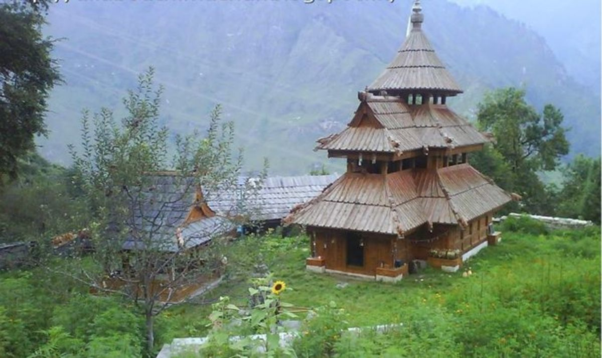 Temple at Sungra village with unique feature wooden roof like several temples in Kinnaur. These temples have borne the brunt of hostile weathers for  hundreds of years without any seepage problem.