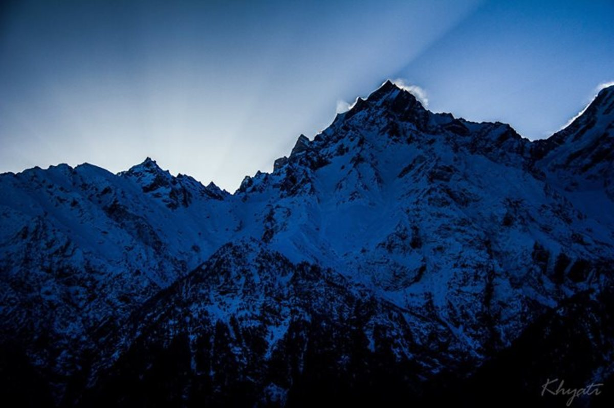 Sunrise from Kalpa Village over the Majestic Kinner Kailash