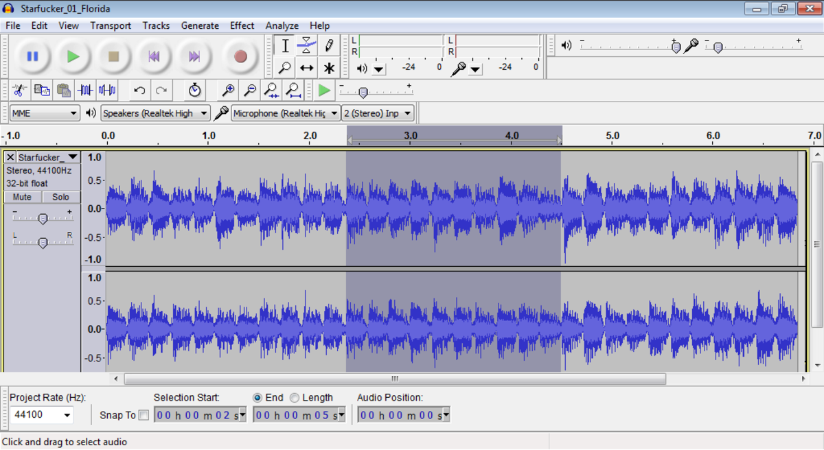 Audacity: Trim selected audio selection