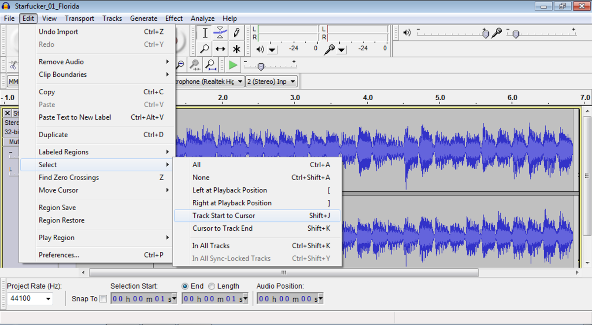 Audacity: Select the portion of audio you want to use for your custom ring tone