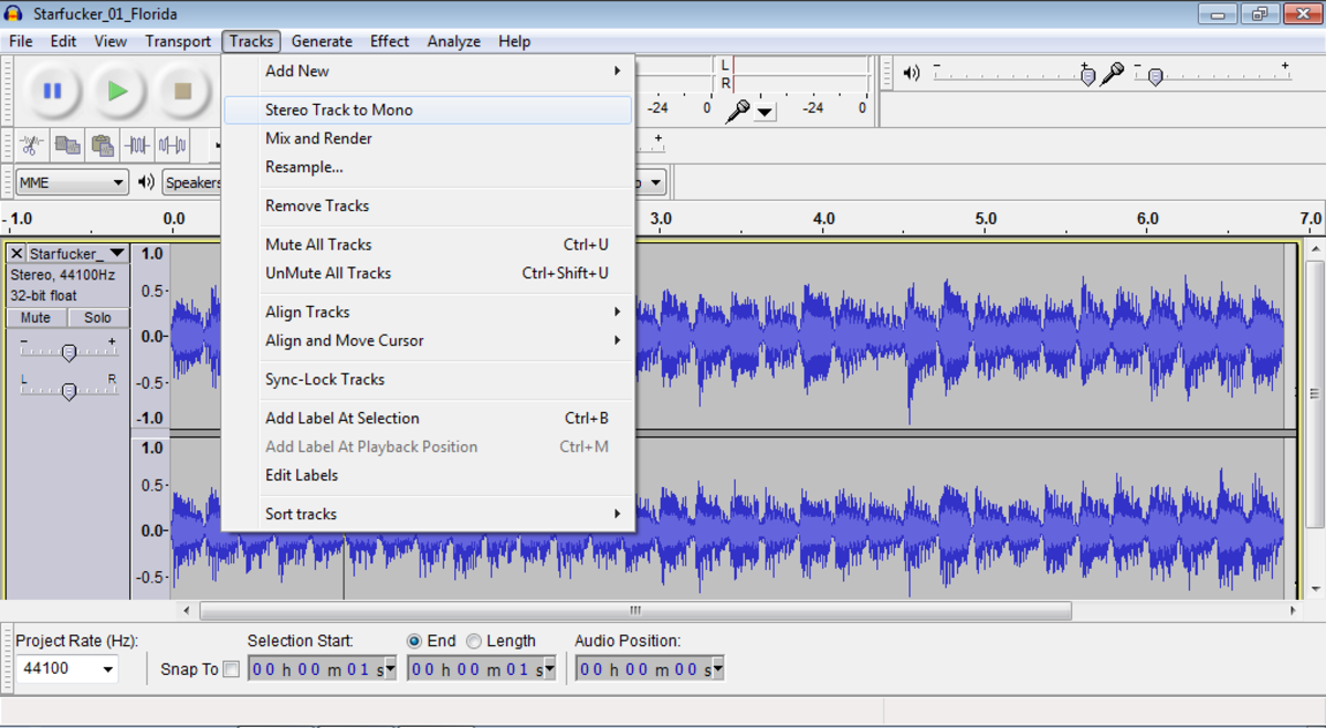 Audacity: Mix multi-channel stereo down to a single mono channel
