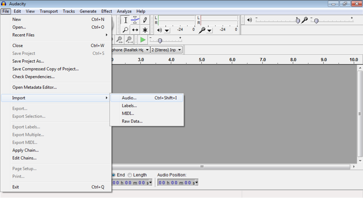 Audacity: Import Audio into audio editor