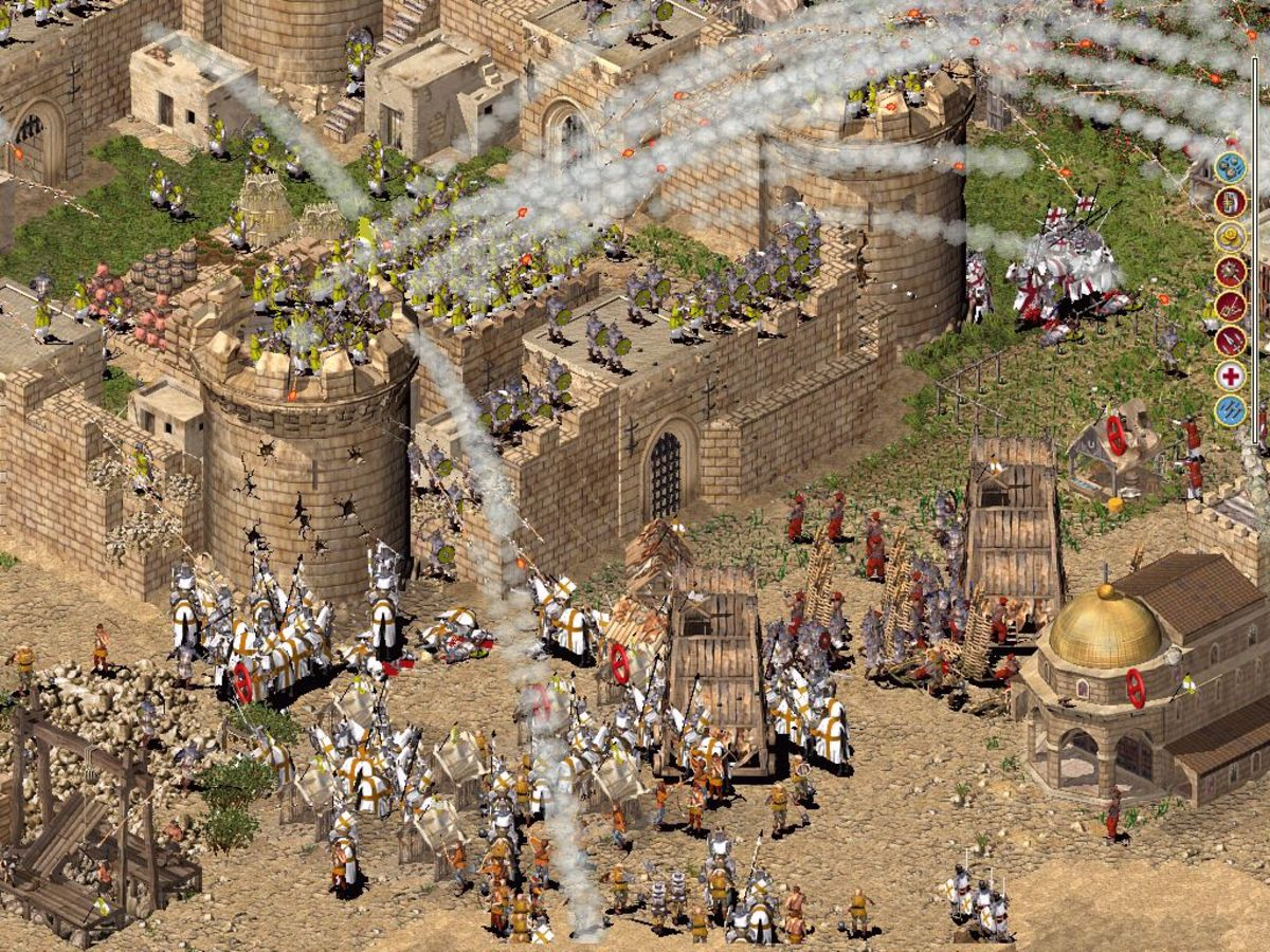 Archers firing flaming arrows at the enemy.