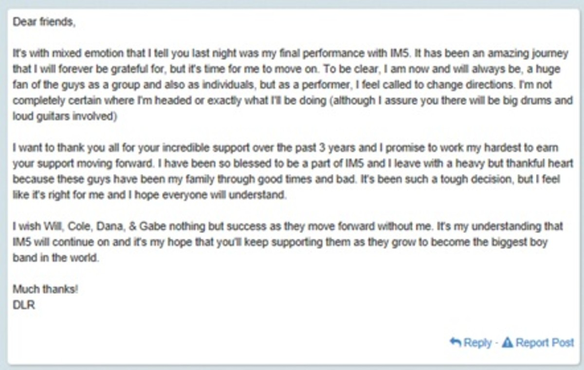 Full text of Dalton Rappatoni Twitter message that he is leaving IM5
