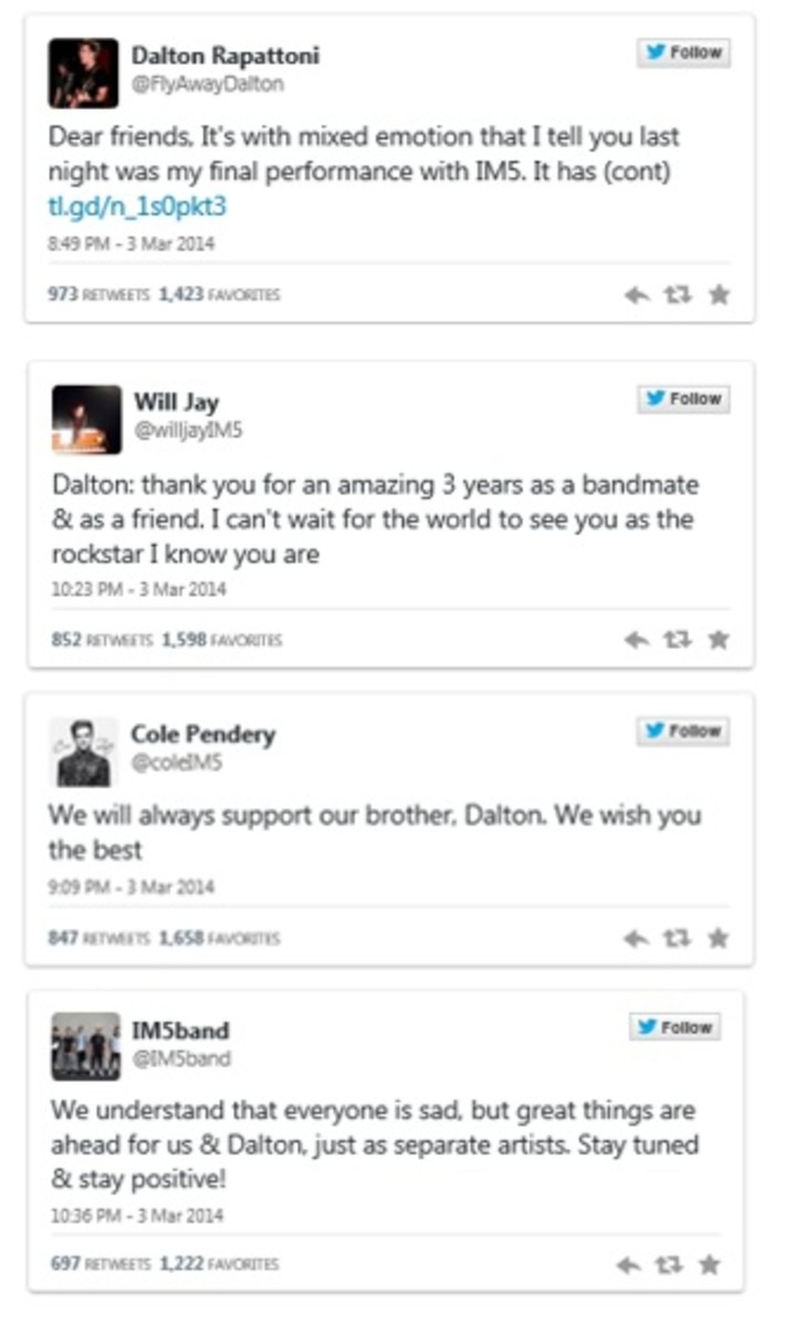 IM5 band members tweet support to Dalton after his announcement to leave the group.