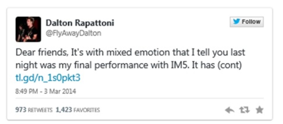 Official twitter message from Dalton Rappatoni announcing he is leaving the band IM5