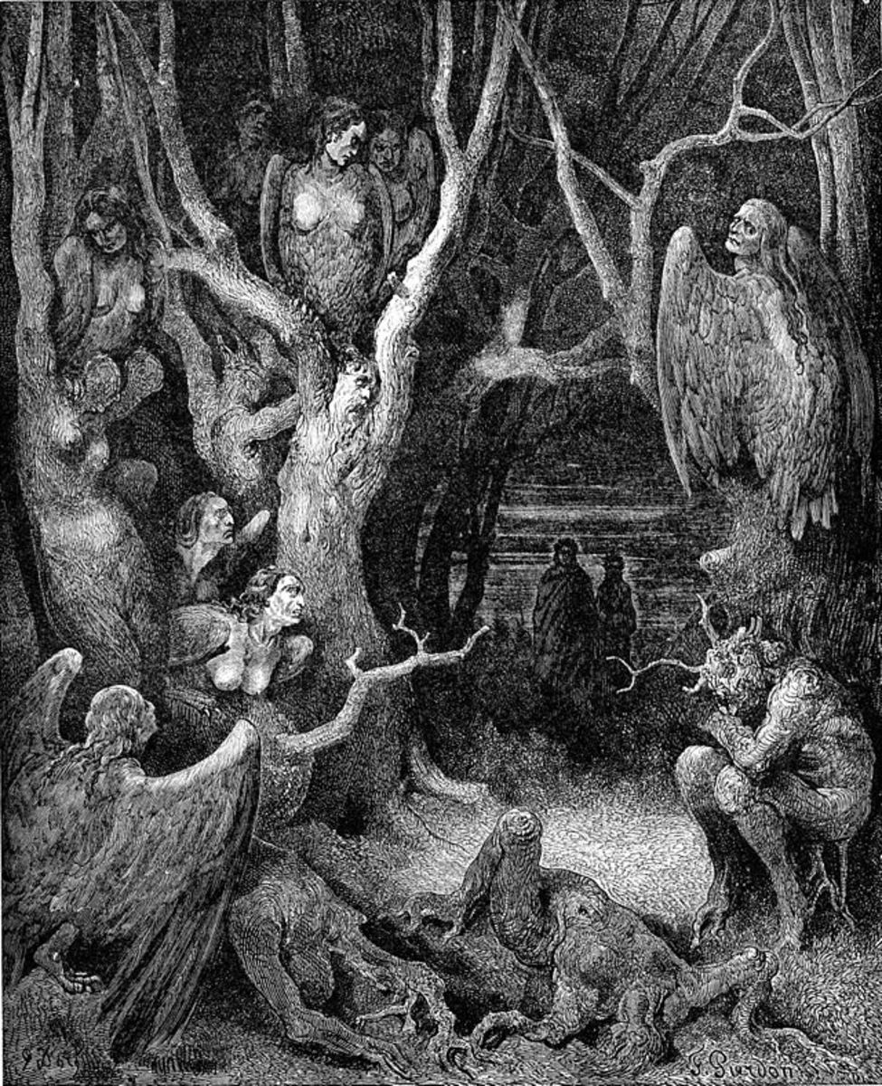Harpies in the infernal wood, from Inferno XIII, by Gustave Doré, 1861 PD-art-100