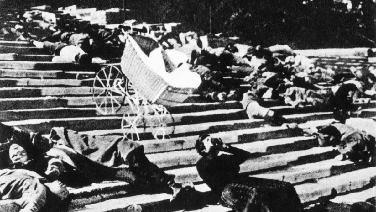 Famous scene from influential film Battleship Potemkin