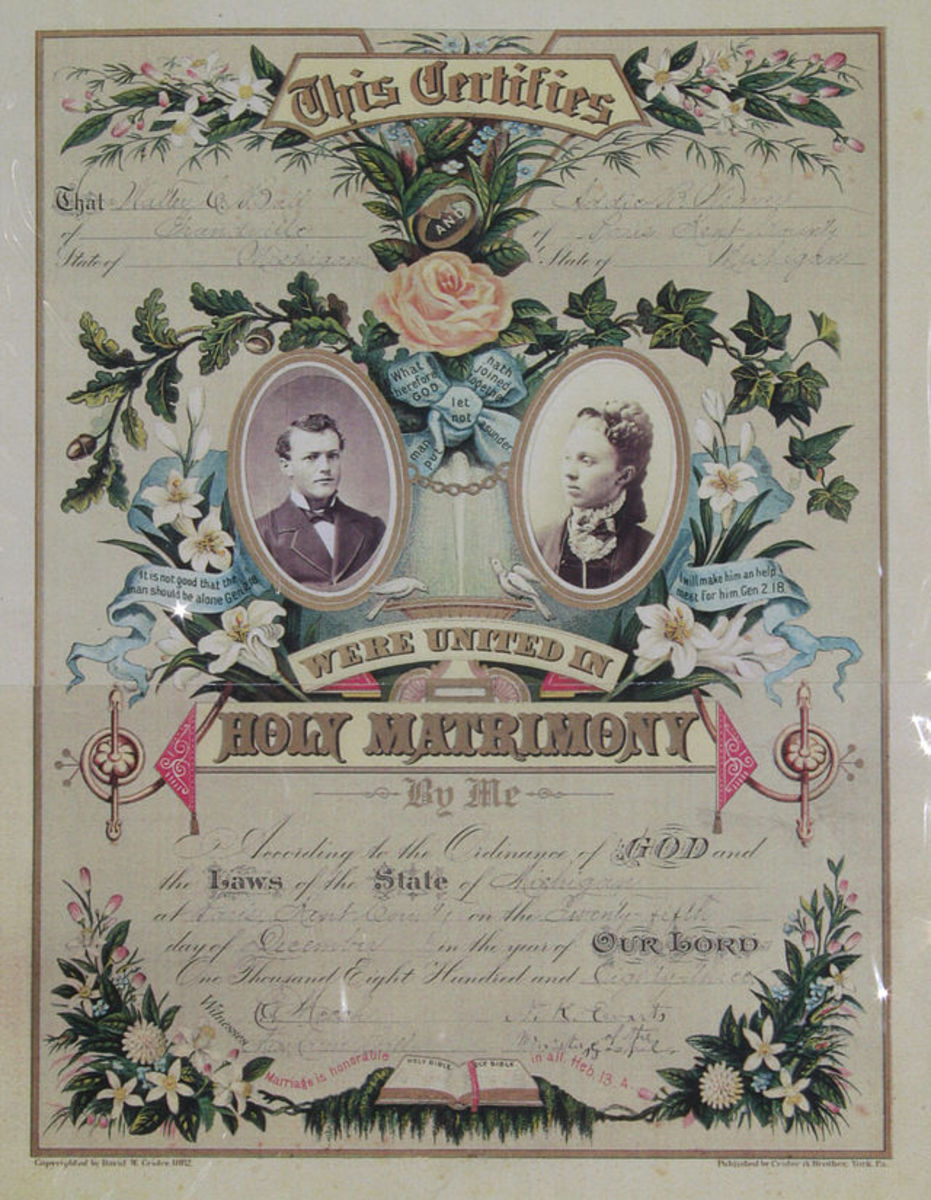 Marriage certificate (public domain)