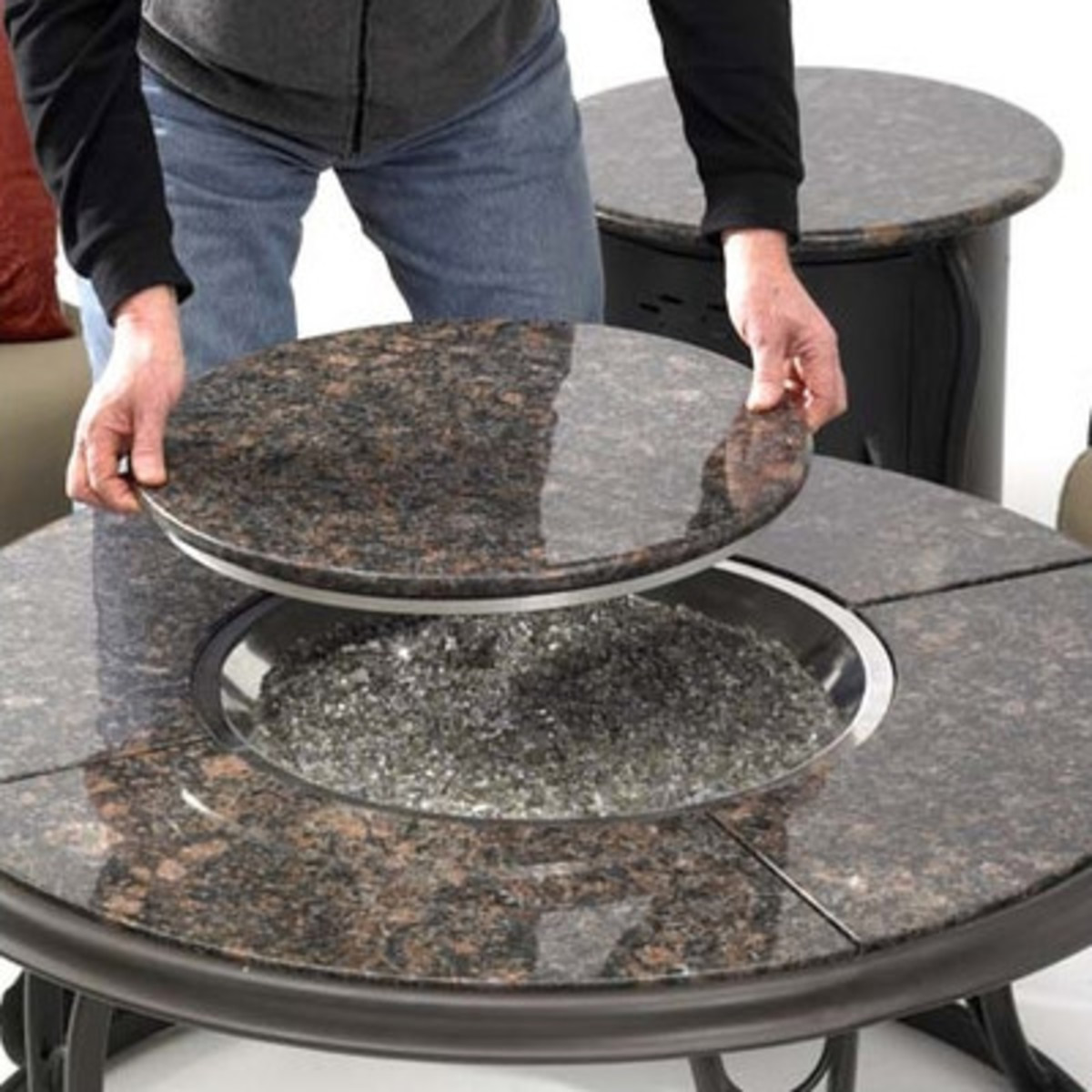 Stone top table with removable fire pit cover that is also a lazy-susan