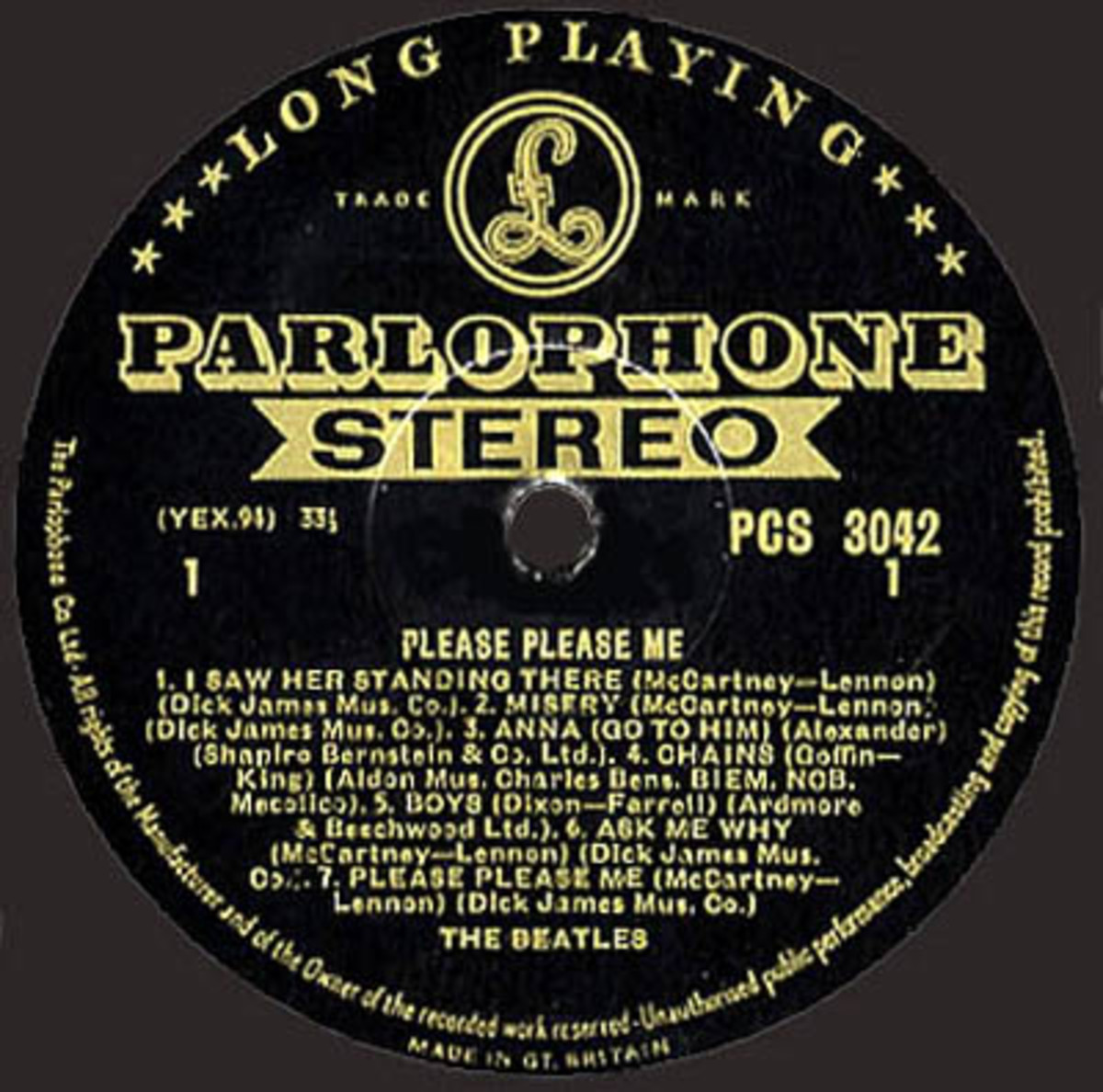 """Beatles """"Please Please Me"""" Stereo Early Parlophone Gold Lablel LP Vinyl Record"""