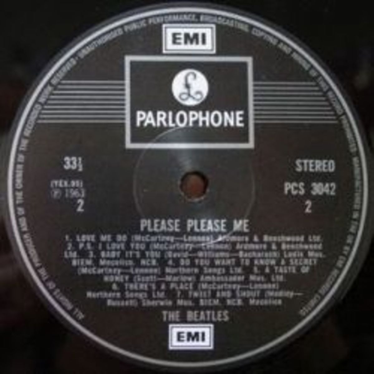 Beatles 1970s EMI Parlophone Black and Silver Two Mark Variant