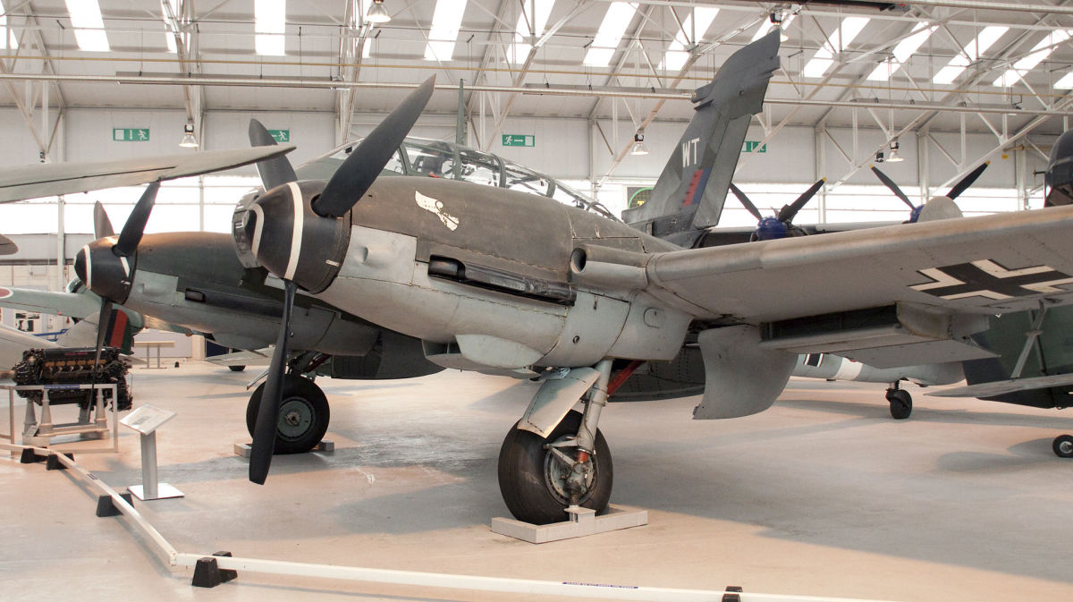 A restored Me-410 at Cosford, UK.