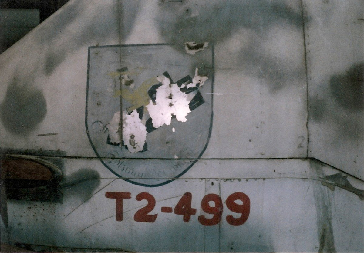 The Me-410's nose with the unit emblem.  Paul E. Garber Facility, May 1998.