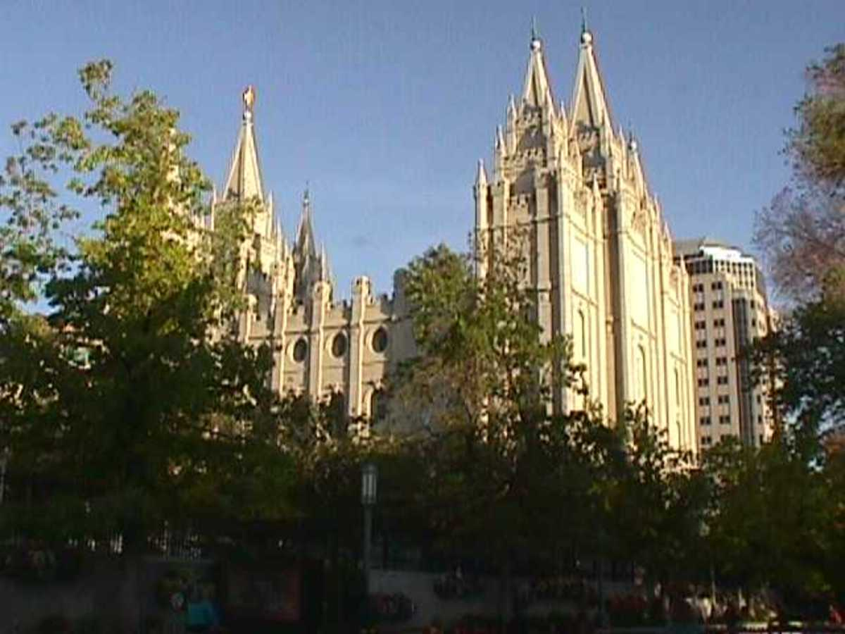 A view of the Salt Lake Temple of The Church of Jesus Christ of Latter-day Saints in Salt Lake City, Utah.
