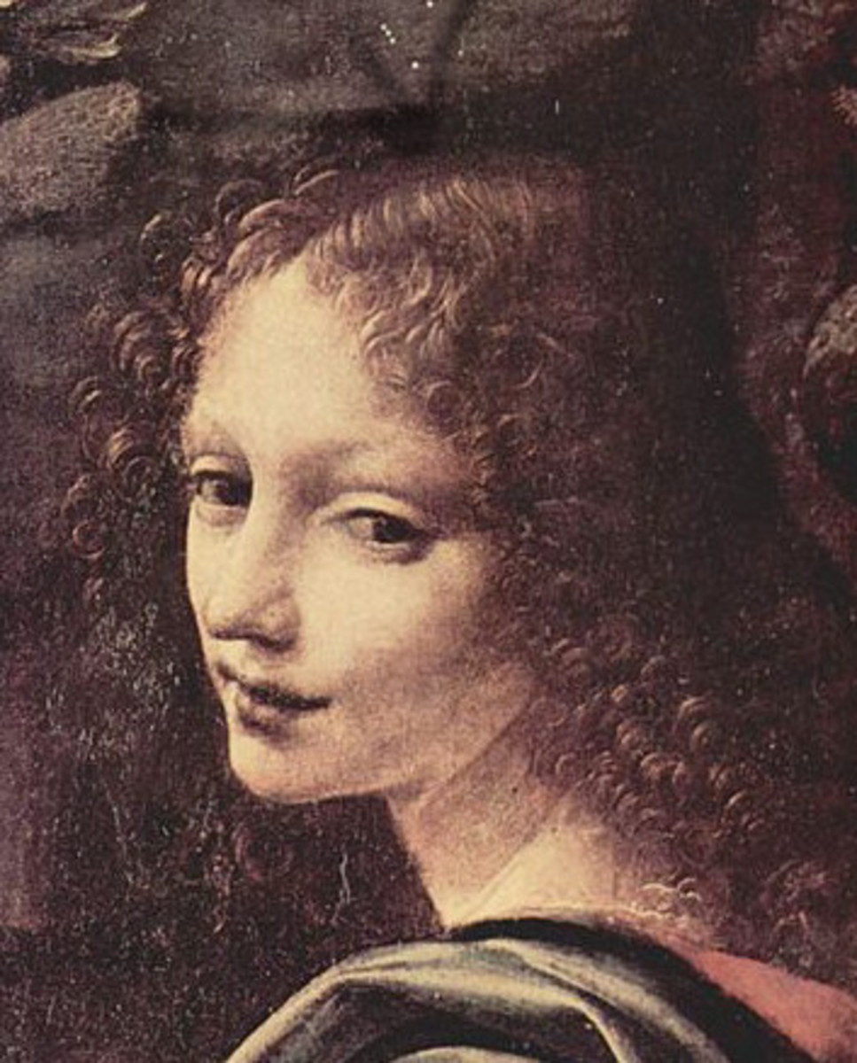 L. da Vinci, Virgin of the Rocks - Detail of the Angel (1486 - 1489), Paris Musée du Louvre