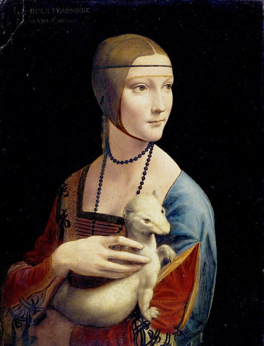 L. da Vinci, Portrait of Cecilia Gallerani (The Lady with an Ermine) (1488-1490), Cracow Czartoryski Museum