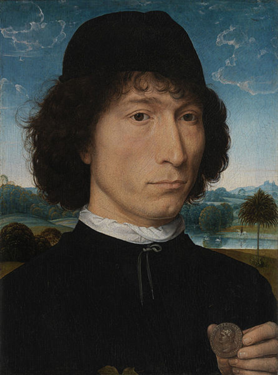 Hans Memling, Portrait of a Man with a Roman Medal (a, 1475)