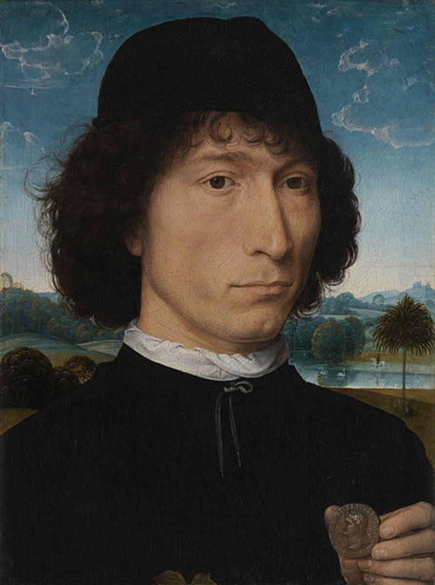 Hans Memling, Portrait of a Man with a Roman Medal (a, 1475)
