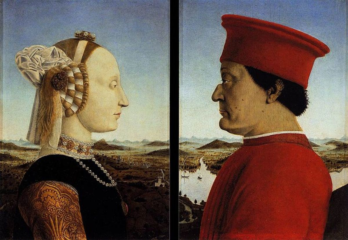 Piero della Francesca, Double Portrait of the Urbino Dukes (a. 1465), Florence Uffizi